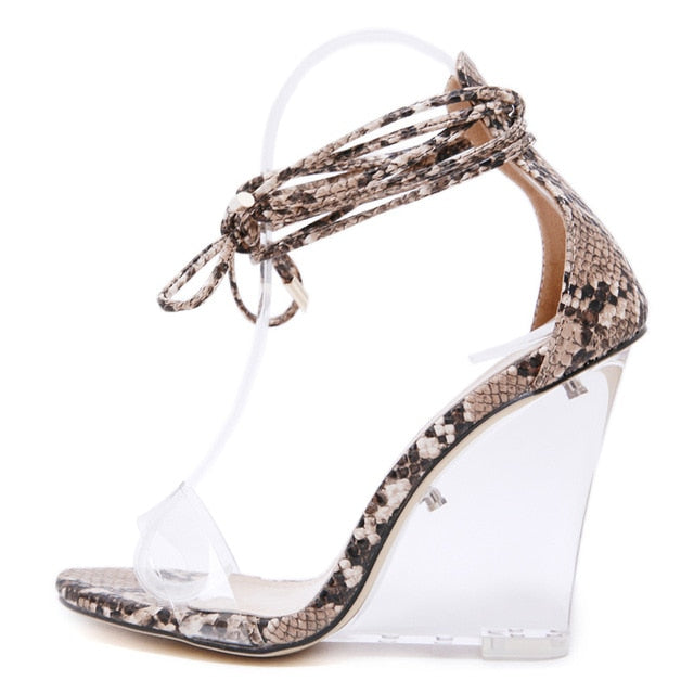 f11fea79c0c 2019 New Summer Women Prom Cane Sandals Wedges 10 cm High Clear Heels  Transparent Pumps Lace-up Dancing Occident Snakeskin Shoes