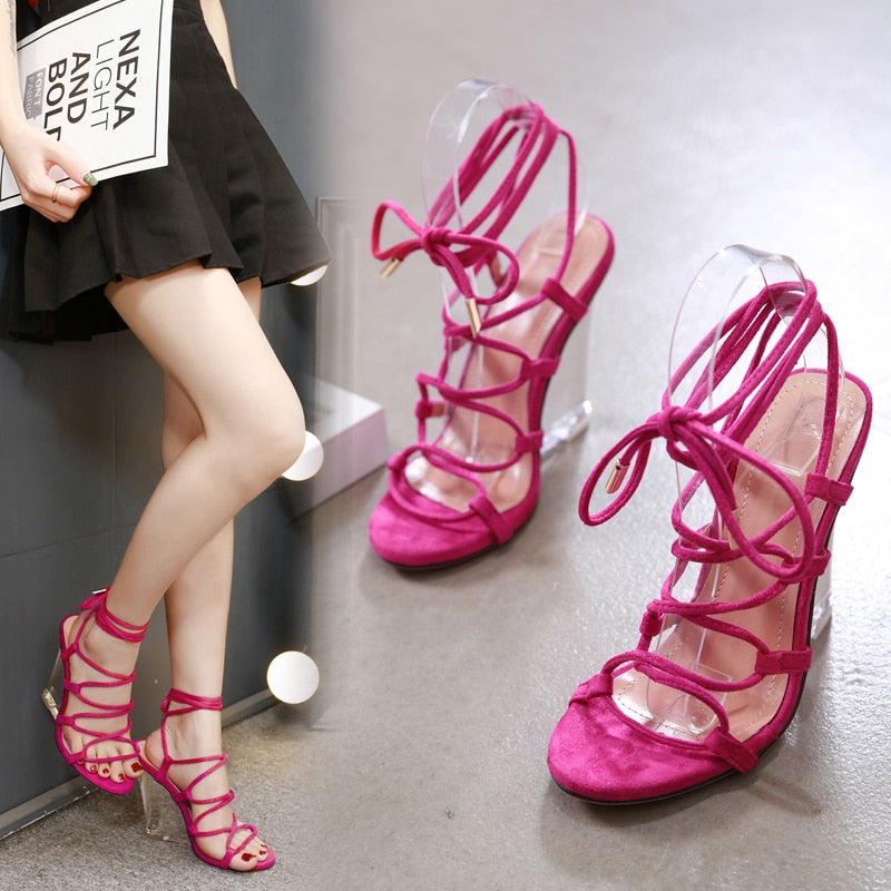 ea652ecf973 2019 New Summer Women Prom Cane Sandals Wedges 10 cm High Clear Heels  Transparent Pumps Lace-up Dancing Occident Snakeskin Shoes