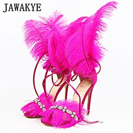 2019 Runway Crystal Tassels Feather Decoration Women Sandals Open Toe Super Thin High Heels Stilettos Solid Party Shoes Woman