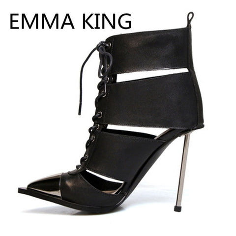 2019 Runway Hollow Spring Summer Ankle Boots Women Pointed Toe Elegant Lace Up Metal High Heels Shoes Woman Cutout Botas Mujer