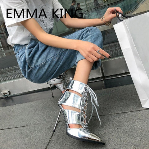 Image of 2019 Runway Hollow Spring Summer Ankle Boots Women Pointed Toe Elegant Lace Up Metal High Heels Shoes Woman Cutout Botas Mujer