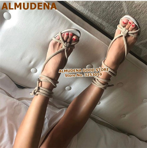 ALMUDENA Women Sexy Red Snakeskin Patchwork Rope Sandals High Heels Lace-up Bowknot Cross-Tied Dress Shoes Wedding Heel Pumps
