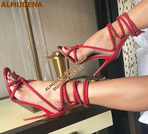 Image of ALMUDENA Women Sexy Red Snakeskin Patchwork Rope Sandals High Heels Lace-up Bowknot Cross-Tied Dress Shoes Wedding Heel Pumps