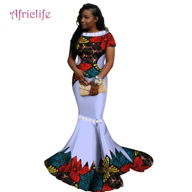 c7399c3516 ... Women African Wax Print Floral Dress Bazin Riche Clothes Traditional  Big Pearl. Hover to zoom