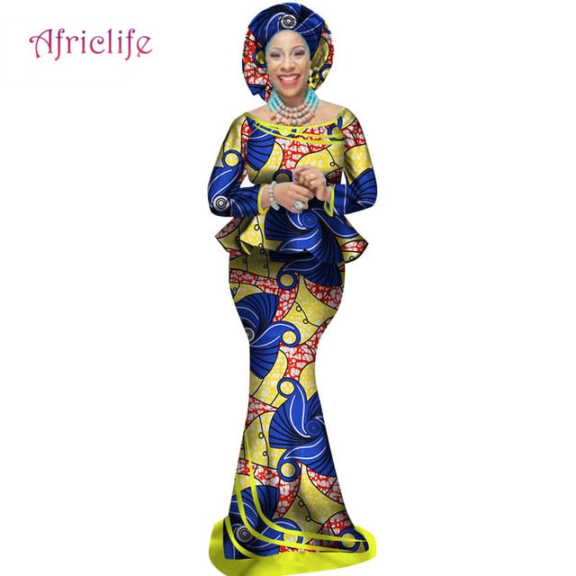 African Traditional Print Clothing Plus Size African Top and Mermaid Skirt with Head Wrap for Women Lady Evening Dress WY2498