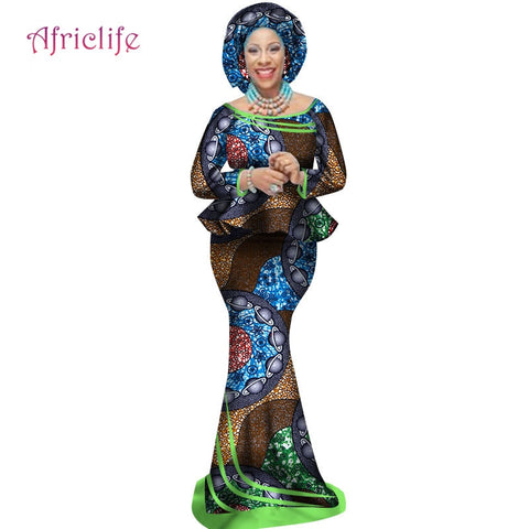 Image of African Traditional Print Clothing Plus Size African Top and Mermaid Skirt with Head Wrap for Women Lady Evening Dress WY2498