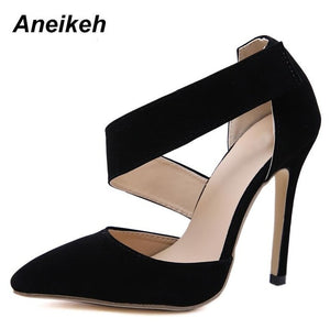Aneikeh 2019 Fashion Summer Shoes Women Gladiator High Heels Pumps Cutout Classic Dress Pumps Chaussures Femme Black Orange red