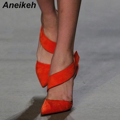 Image of Aneikeh 2019 Fashion Summer Shoes Women Gladiator High Heels Pumps Cutout Classic Dress Pumps Chaussures Femme Black Orange red