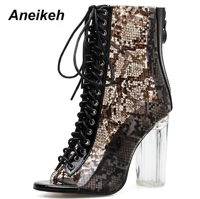285bb553a2 Aneikeh 2019 Sexy PVC Transparent Leopard Grain Boots Sandals Peep Toe  Shoes Clear Chunky Heels Sandals Mujer Women Ankle Boots