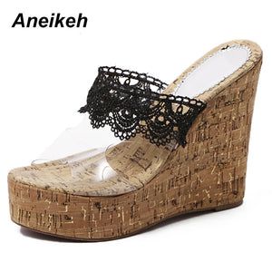 Aneikeh 2019 Summer PU Classic Women's Vulcanize Shoes Lace Transparent Slip-On Shallow High Heels Office White Black Size 34-40