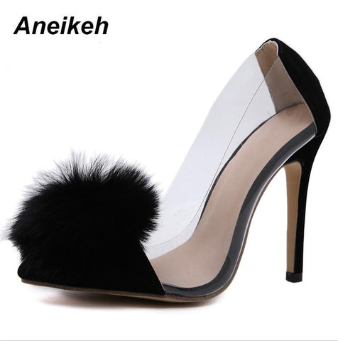 Image of Aneikeh Clear PVC Transparent Pumps Slip-On Thin Heel High Heels Point Toes Womens Party Shoes Nightclub Pumps Black Size 35-40