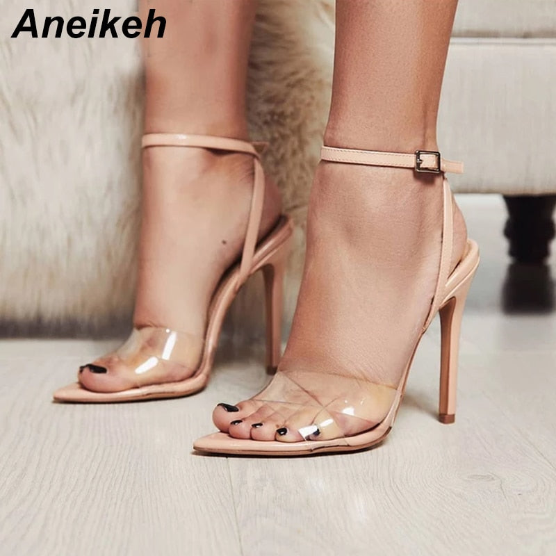Aneikeh Summer Clear Sandals Women Transparent High Heels PVC Cross ...
