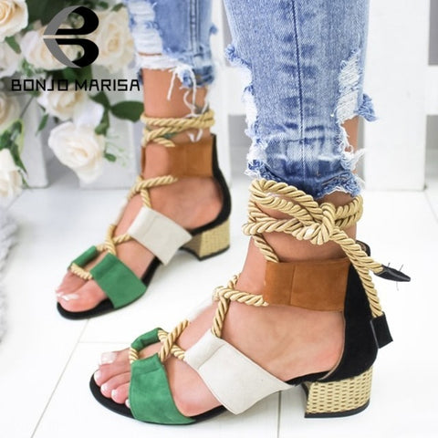 Image of BONJOMARISA New INS Hot Sale Hemp Rope Gladiator Sandals Women 2019 Summer Fashion Large Size 35-43 Women High Heels Shoes Woman