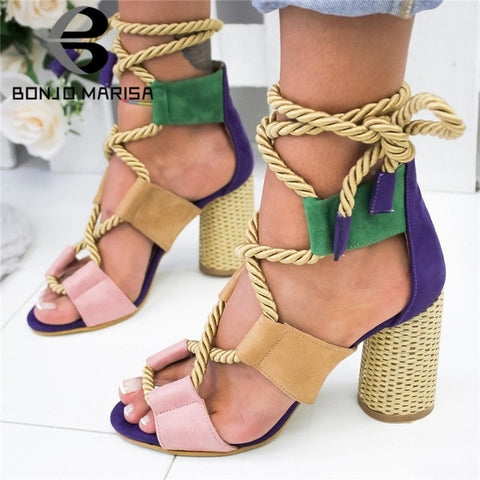 BONJOMARISA New INS Hot Sale Hemp Rope Gladiator Sandals Women 2019 Summer Fashion Large Size 35-43 Women High Heels Shoes Woman