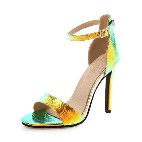 Image of BONJOMARISA New INS Hot Sexy Bright Metalic High Heels Sandals Women 2019 Summer Plus Size 32-46 Party Wedding Women Shoes Woman
