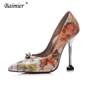 9004142772 ... Baimier Luxury Crystal Women High Heels Embroidered Women Wedding Shoes  Sexy Party Flower Women Pumps Plus
