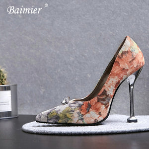 981276fc71 Baimier Luxury Crystal Women High Heels Embroidered Women Wedding Shoes  Sexy Party Flower Women Pumps Plus ...
