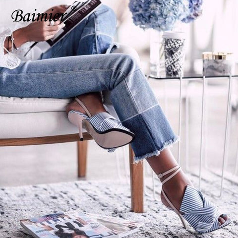 Baimier Summer Striped High Heels Sandals Women Ankle Strap Gladiator Sandals Women Open Toe Bowtie Shoes Woman Plus Size 34-43