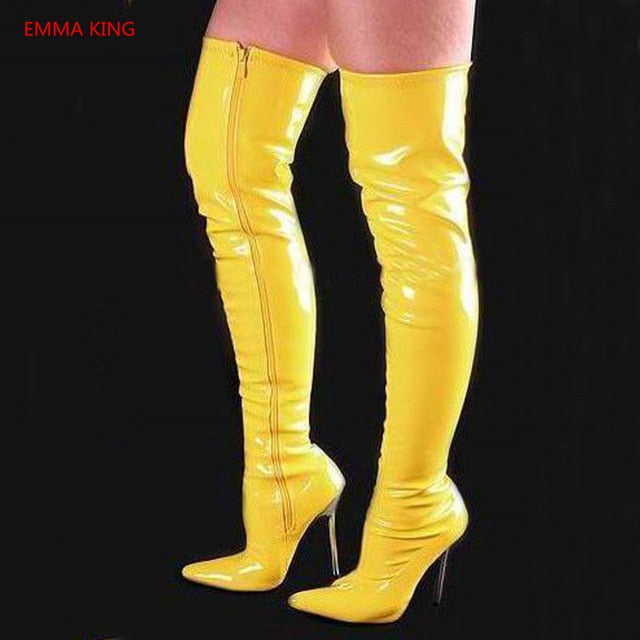 592fd1bb644 ... Knee High Boots Pointed Toe Sexy Ladies High Heels Shoes. Hover to zoom