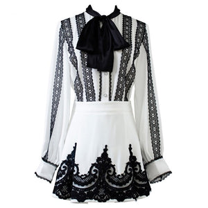 CBAFU high quality designer runway 2 piece set lace embroidery chiffon shirt shorts suit bow tie tops a line culottes suit D540