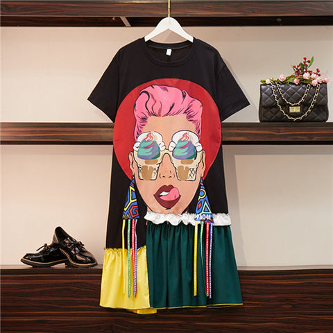 CBAFU streetwear women cartoon face applique summer dresses tassel Tshirt dress women casual loose large size dress XL-4XL D456
