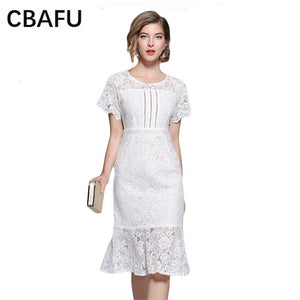 5294d9550ee9 CBAFU white hilloe out lace dress women short sleeve o neck trumpet mermaid  party dress runway ...