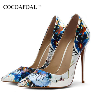 8d6f0b2dc6 COCOAFOAL Fashion Sexy Women's White Doodling High Heels Shoes Wedding  Shoes Pumps Party Pointed Toe Stripe ...