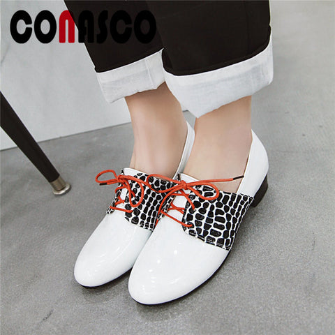 Image of CONASCO Classic Pumps Women High Quality Patent Leather Round Toe Pumps Sqaure High Heels Spring Summer Working Shoes Woman