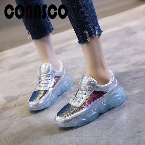 CONASCO Handmade New Women Sneakers Rhinestone Round Toe Cross Tied Flats Shoes Spring Summer Shoes Woman Elegant Sports Shoes