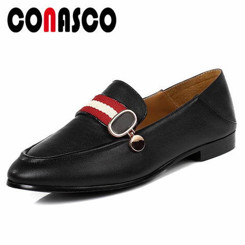 CONASCO New Women Basic Pumps Genuine Leather Spring Autumn Square Heels Shoes Woman Brand Design Metal Decoration Concise Shoes