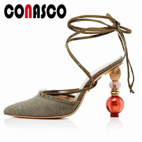 CONASCO Summer Ankle Strap Sexy Sandals Women Knitting Pointed Toe Strange High Heels Prom Wedding Elegant Pumps Shoes Woman