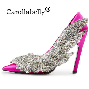 Carollabelly  Brand Shoes Crystal Women High Heel Rhinestone Leaf  Gladiator Wedding  Shoes Genuine Leather Pointed  High Heel