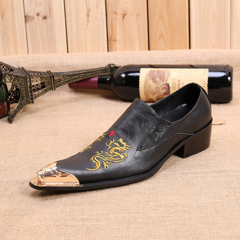 Christia Bella Chinese Style Male Real Leather Embroidery Shoes Large Size Golden Metal Pointed Toe Man Shoes Man Party Shoes