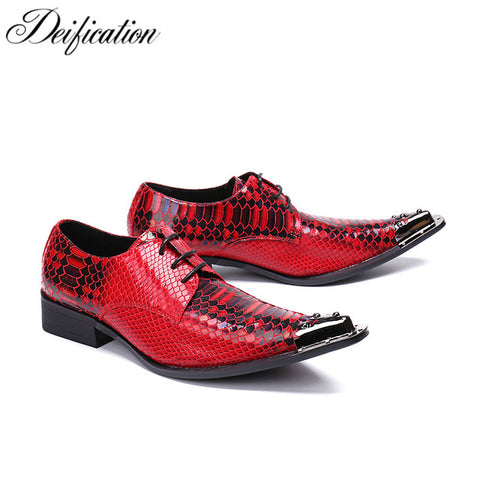 Deification Red Snake Python Genuine Leather Mens Shoes Lace Up Formal Dress Shoes Men Metal Toe Party Dress Wedding Shoes Flats