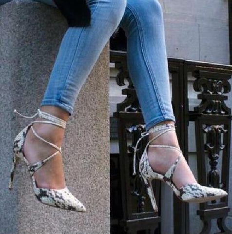 Designer gery snakeskin lace-up high heel women pumps pointed toe crisscross stiletto heels wedding party dress shoes woman