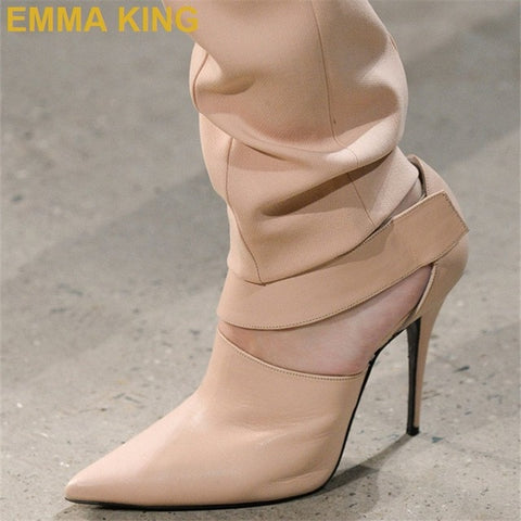 EMMA KING Fashion Runway Shoes Women Pumps Orange Leather Gladiator High Heels Sexy Ladies Shoes Stiletto Heels Drop Shipping