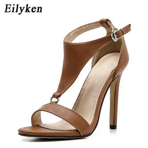 Eilyken 2019 New Gladiator Women Sandals Peep Toe High Heels Black Button Thin heel Shoes Fashion Brown Black Pumps Sandals