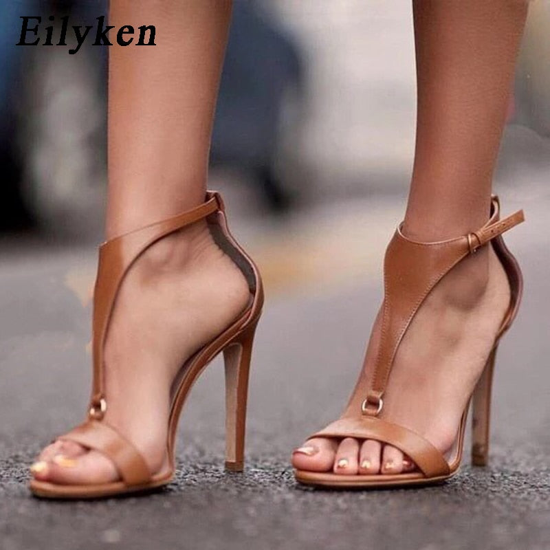 c287a36424 Hover to zoom · Eilyken 2019 New Gladiator Women Sandals Peep Toe High  Heels Black Button Thin heel Shoes Fashion