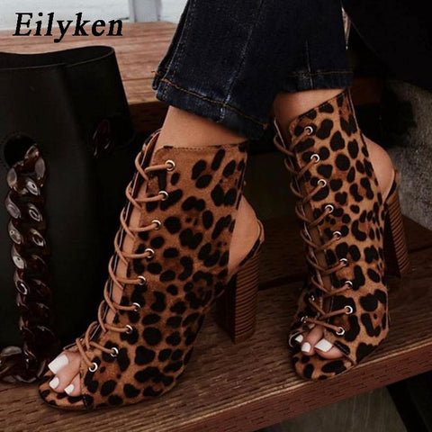 Image of Eilyken High Quality Gladiator Women Chunky heels Cross-tied Boot Peep Toe Lace Up Pumps Woman Boot Sandals Shoes Size 35-42