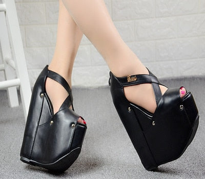 Image of European American style sexy nightclub women shoes 19CM simple elegant high heels muffin platform super high heel wedge sandals