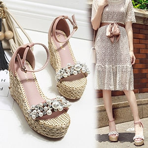 European Brand Luxury Pearl Platform Shoes Knitting High Heels Wedges Sandals Crystal Slip On Shoes Women High Quality Handmade