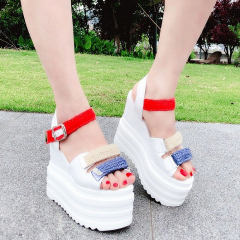 Image of European and American thick-soled sandals 2018 summer new webbing 13CM open toe increase women's shoes sponge cake Roman shoes