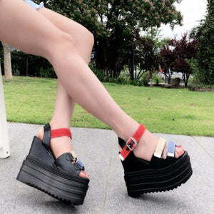 European and American thick-soled sandals 2018 summer new webbing 13CM open toe increase women's shoes sponge cake Roman shoes