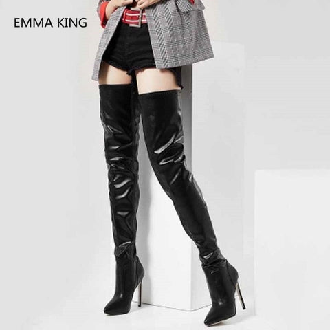 Extreme 12cm Stiletto Heel Over The Knee Long Boots Women Pointed Toe Patent Leather High Heels Winter Shoes Woman High Botas