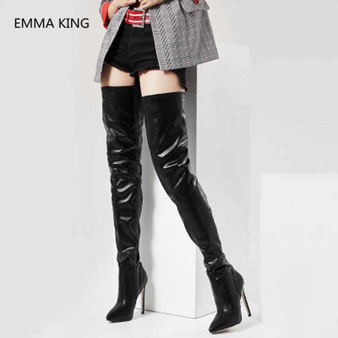 Image of Extreme 12cm Stiletto Heel Over The Knee Long Boots Women Pointed Toe Patent Leather High Heels Winter Shoes Woman High Botas