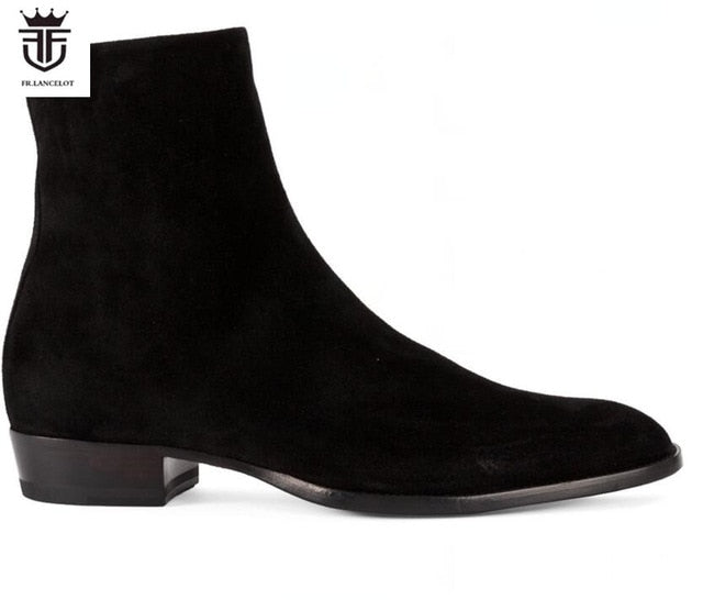 31377fec6c210 FR.LANCELOT 2019 New suede leather men booties zip up Chelsea Boots black  suede Ankle Boots Men's Fashion party shoes vintage