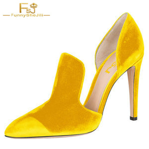 b4624f7334a FSJ Women Shoes Ladies Pumps Yellow Double D orsay Pointy Toe Stiletto Heels  2018 Spring ...