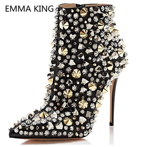 Image of Fashion Pointed Toe Ankle Boots For Women Rivets Studded Designer Party Shoes Sexy High Heels Black Leather Woman Martin Boots