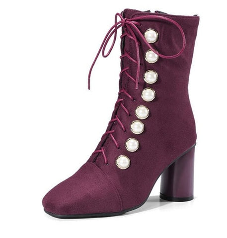 Flock square toe martin boots ladies cross strap pearl decorate round heels women large size 34-45 riding booties mujer bottines