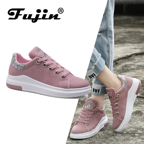 Fuijin 2019 Spring Summer Autumn women Fashion sneakers  female casual shoes  platform PU leather classic cotton lace up shoes